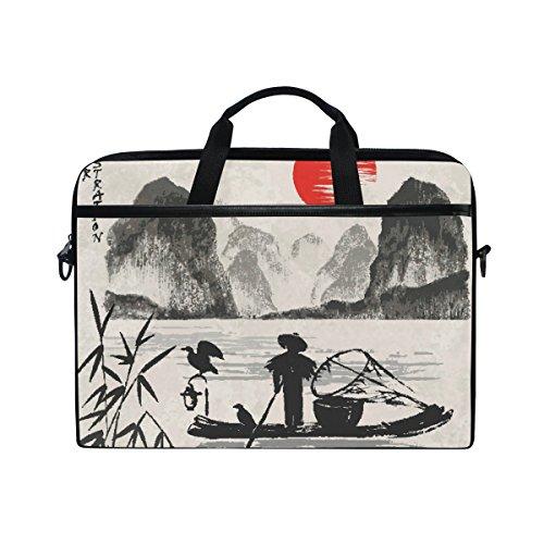 Jstel und apanese Kiefer-Laptop-Umhängetasche Messenger Bag Case Schutzhülle für 14-Zoll-Notebook mit 15,6Zoll mit verstellbarem Schultergurt