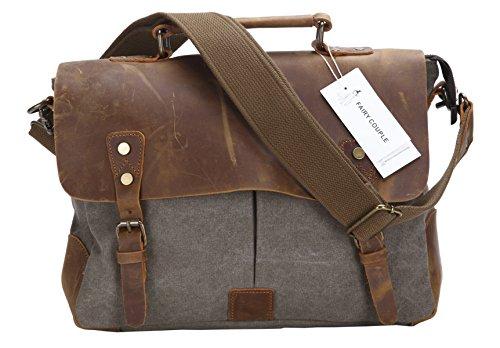 Fashion Plaza Herren Leder mit Leinwand Umhängetasche Tasche Mann Business Casual Laptop Bag Aktentasche C5068 (army grün)