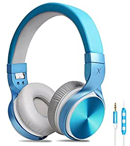 Headphones, Riwbox IN5 Foldable Headphones with Microphone and Volume Control for Travel, Work, Sport , Folding Headset for Iphone and Android Devices (Blue&Grey)