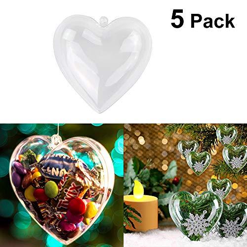 Warmiehomy 5 stücke Klar Herzform Weihnachtsbaum Ornamente DIY Kunststoff Fillable Kugeln für Weihnachten Hochzeit Dekorationen 6,5 cm (Ornamente Diy Klare)