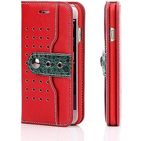 iPhone 6s Funda , L2W tirón de la carpeta de la cubierta del cuero genuino de la hebilla magnética para el iPhone 6, para el iPhone 6s - Rojo