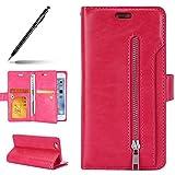 Uposao Kompatibel mit iPhone 6S Plus 5.5 Leder Tasche Schutzhülle Handytasche Ledertasche Lederhülle Klapphülle Book Case Schutzhülle Flip Cover Karteneinschub,Hot Pink