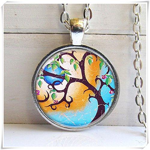 Baum Anhänger, Skurril Baum Art Anhänger, Silber Charm Halskette, Baum Schmuck