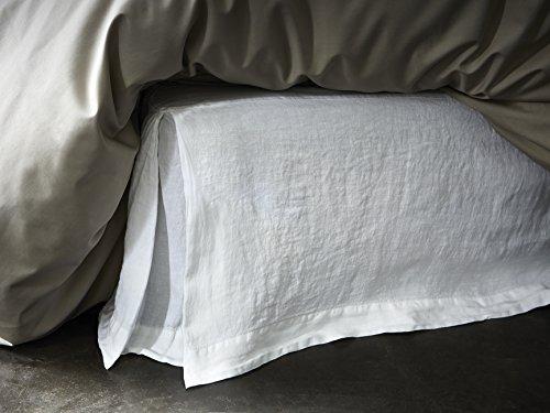 Cache sommier - Lin lavé - uni Blanc BLANC CERISE 160x200 cm