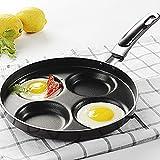Ltopow Bratpfanne 4 Eier, Edelstahlpfannen mit Aluminium Beschichtete Antihaft-Pfannen Augenpfanne Krapfenpfanne Eierpfanne 24cm