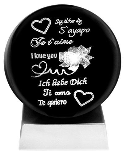 Kaltner Präsente Stimmungslicht - Ein ganz besonderes Geschenk: LED Kerze/Kristall Glaskugel / 3D-Laser-Gravur Herzen - ICH LIEBE DICH - TI AMO - TE QUIERO - I LOVE YOU - JE T`AIME - S´AYAPO Kristall-kerze