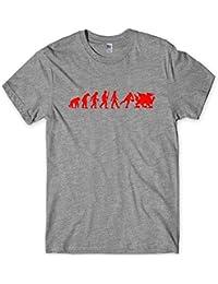Wales Evolution T-Shirt Welsh Dragon Tee . Mens Sport Gift
