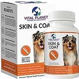 Vital Planet Haut und Fell Tabletten Kautabletten Säure Omega 3 Fette Zuschlag für Hunde ultimative Unterstützung für ein gesundes Fell 60 Tabletten Kautabletten