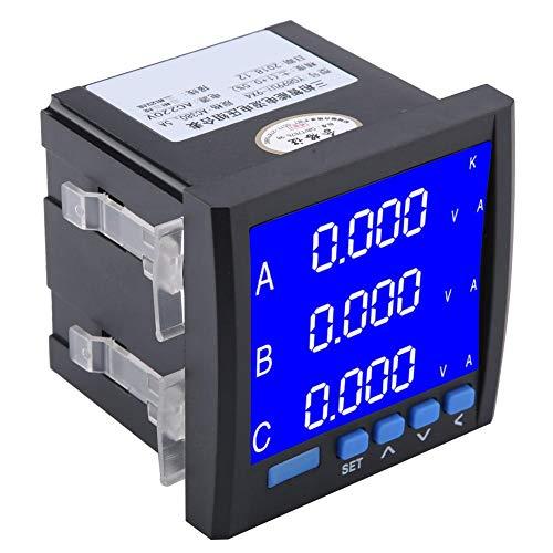 Smart Meter AC Voltmeter Amperemeter, Digitaler Dreiphasen LED Programmierbare Multifunktionsspannungsstrom Meter, Schwarz - Ac Voltmeter