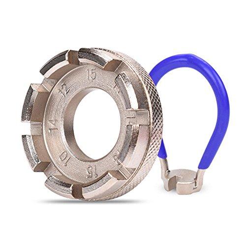 yimosecoxiang Fahrrad-Speichenschlüssel, 6-in-1, strapazierfähig, für Radfahrer, silberfarben/Blau, Silber/Blau (Ratsche Metrisch Handwerker)