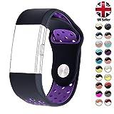 STAY Active Correas de Recambio para Fitbit Charge 2, Reloj Inteligente y Deportivo para Mujer y Hombre | Marca del Reino Unido - Deportiva (Black & Dark Purple, Medium)
