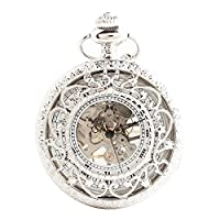 Joielavie Hollow Pocket Watch Roman Numeral Skeleton Engraved Flower Carved Stripe Mechanical Movement Flip Clamshell Vintage Charm Alloy Single Chain Watches Gift For Men Women