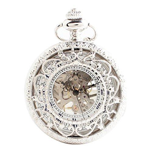 lekima pocket watch hollow skeleton roman numeral engraved flower stripe clamshell mechanical movement retro charm alloy single chain watch gift for men women