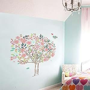 Walplus DF5103 Cerisier en fleur/oiseau/arbre