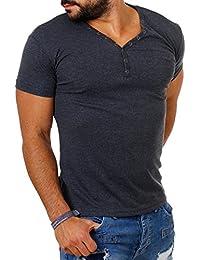 02bb1d49a31856 Young Rich Herren Uni feinripp Basic T-Shirt mit Knopfleiste   tiefem V-Ausschnitt  deep