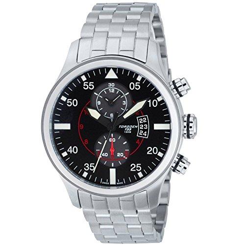 TORGOEN Swiss - T33201 - Montre Homme - Quartz Chronographe - Aigulles luminescentes/Chronomètre - Bracelet Acier Inoxydable Argent