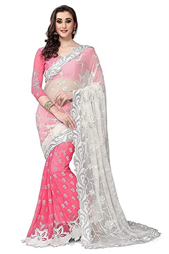 Lajree Designer Women\'s Georgette and Net Embroidery Saree with Blouse Piece (Multicolour, Free Size)