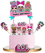 Bsstr LOL Cake Topper, Happy Birthday Cake Topper, Pink Cake Decorations for Baby Theme Party - Single Side 1