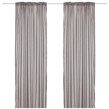 ikea set de rideaux vivan deux rideaux de 300 x 145 cm gris cuisine maison. Black Bedroom Furniture Sets. Home Design Ideas