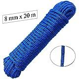 Seil 8 mm 20 m -- Polypropylenseil PP, blau / schwarz, Festmacherleine, Allzweckseil, Bruchlast: 700kg, 20m x 8mm