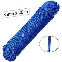 Corde polypropylène 8 mm x 20 m Bleu/Noir Laisse amarrage, corde multifonctionnelle, charge de rupture: 700 Kg