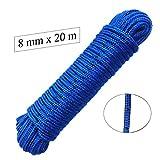 Corda polipropilene 8 mm x 20 m, Blu/Nero Fest macher Guinzaglio, Multiuso corda