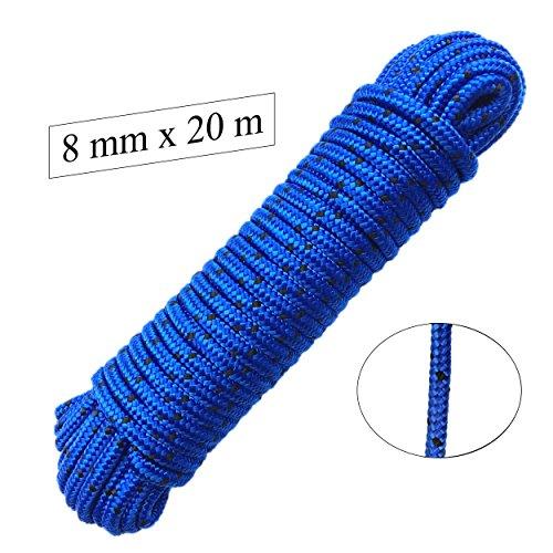 Seil 8 mm 20 m - Polypropylenseil PP, blau/schwarz, Festmacherleine, Allzweckseil, Strick, Leine, Flechtleine - Bruchlast: 700kg, 20m x 8mm
