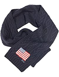 Polo Ralph Lauren Men's Navy Blue RL67 Flag Cable Knit Wool Scarf One Size