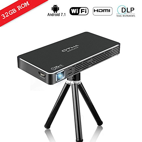 Mini Projektor, DLP LED Beamer Android 7.1 & 32GB ROM Wireless Portable 1080P Dual WiFi Bluetooth HDMI Keystone Korrektur Direktlink Bildschirm Teilen für iPhone PC Laptop -- OTHA
