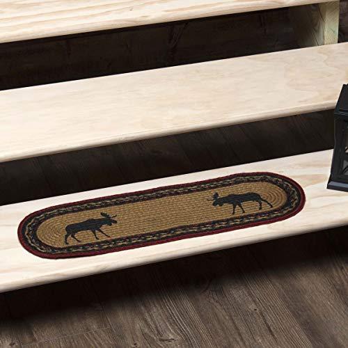 VHC Brands 10713 Rustic & Lodge Bodenbelag Teehütte oval Juteteppich grün Hütte Stair Tread Almond Tan -
