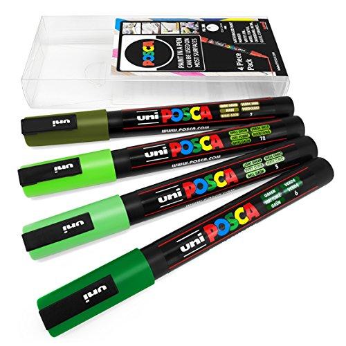 Uni Posca PC-3M - Juego de 4 rotuladores para pintura artística, en estuche de plástico, color verde