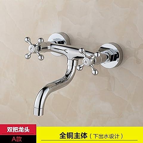 Qwer Full-Body Kupfer Küche Wasserhahn Balkon Mops Pool heiß und Cold-Flush Mount Dusche Ventil in die Wand dicken Vermischt das Wasserventil