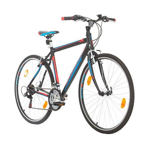 BIKE SPORT LIVE ACTIVE Trekkingfahrrad Cross Fahrrad Herren 28 Zoll Bikesport Route Aluminium Rahmen, Shimano 21 Gang (Schwarz Matt, M-52 cm)