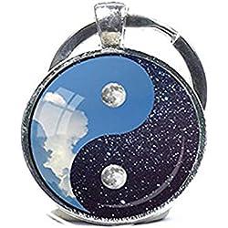 Yin y Yang y Yin Yang llavero llavero Luna Noche Día Llavero Clave Anillo Luna y Estrellas Azul y blanco llavero Yoga espiritual regalo reiki regalo