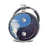 Yin Yang Porte-clés Porte-clés Lune Nuit Jour Keychain Porte-clés de Yin Yang Lune et étoiles Bleu et blanc spirituel Porte-clés cadeau de yoga Reiki Cadeau