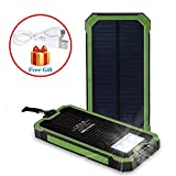 Noza Tec Solar Power Charger 15000mAh Portable Power Bank - Dual USB Output Solar Battery Charger with Carabiner LED Lights for Emergency Cell Phones Tablet Camera (Green)
