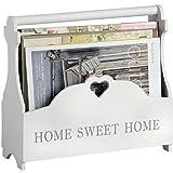 Hill Interiors - Porta riviste con scritta in inglese Home Sweet Home (Taglia unica) (Bianco)