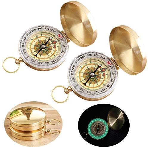 Liuer 2pcs Portable Taschenuhr Flip-Open Kompass Wasserdichte Wanderung Navigation Kompass mit Glühen in der Dunkelheit ideal für Camping Wandern und andere Outdoor-Aktivitäten Leicht Leicht zu tragen (Der Glühen Dunklen In Armbänder)