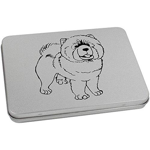 Chow-chow Hund Essen Hund (170mm x 130mm 'Chow Chow Hund' Blechdose / Aufbewahrungsbox (TT00070223))