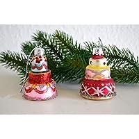 2 Glasanhänger Erdbeer-Sahne-Torte Christbaumschmuck mundgeblasen