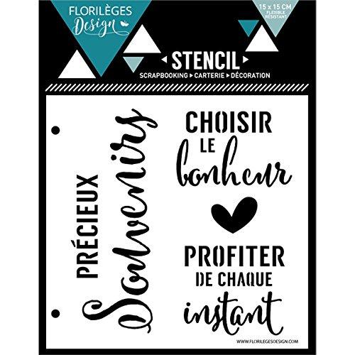 Florilèges Design FDS11615 Pochoir Bonheur ET Instant, Plastique, Blanc, 15 x 15 x 0,1 cm