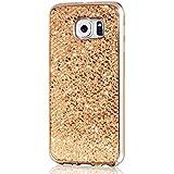 Samsung Galaxy S6 Edge Hülle,KSHOP Tasten Handyhülle Schutzhülle Case Cover Etui Bumper Anti-Scratch Plating TPU Silikon Golden Glänzend Glitzer Bling Shining Luxus Farbig Rahmen Gold
