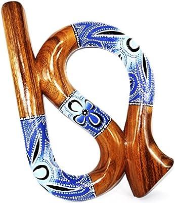 Didgeridoo (madera Suar pintado espiral artisanal aborigen Spiral