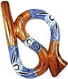 Didgeridoo Bois Suar Peint Spirale Artisanal Aborigène Spiral bleu didjeridoo