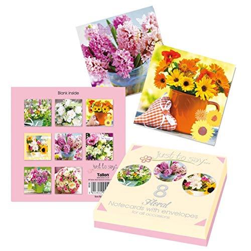 Just to Say 4492 - Tarjetas de cumpleaños (8 unidades), diseño floral