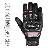 CARCHET Guantes de Moto Guantes con protección, de dedo completo Impermeables (L)