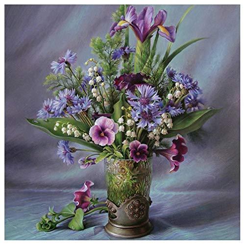 5D-Strassstein-Gemälde, mit quadratischen Strasssteinen und Werkzeug, Flowers and vases, 50X50cm
