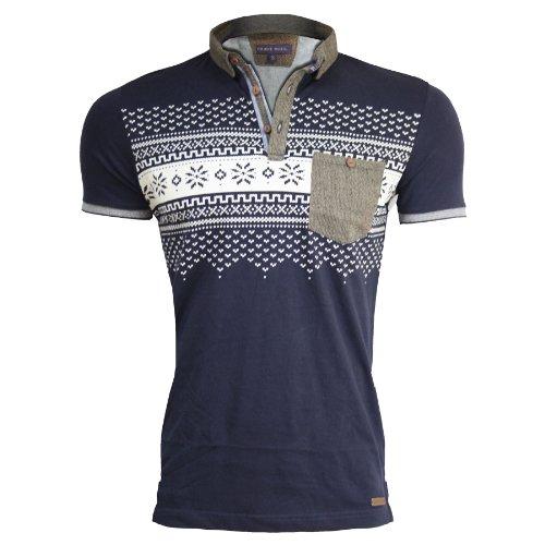 Herren Bravesoul Designer Tasche Sommer Kragen Kurz Ärmel Polo Shirt Marineblau Aztec MTS69 Eleazar - Tweed Rand