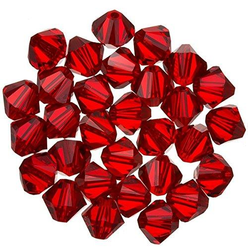 Bicone Siam (Swarovski Kristall Xilion Bicone (227) Light Siam 6mm Perlen PK30)