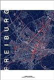Poster 40 x 60 cm: Freiburg Karte Mitternacht Stadt von Campus Graphics - Hochwertiger Kunstdruck, Kunstposter